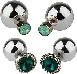 """SIX""""Trend"""" 2er Set silberne Back-Front Ohrringe Vorne Hinten Stecker hell dunkel grüner Strass, rhodiumfarbene Kugel, Perle (475-111)"""