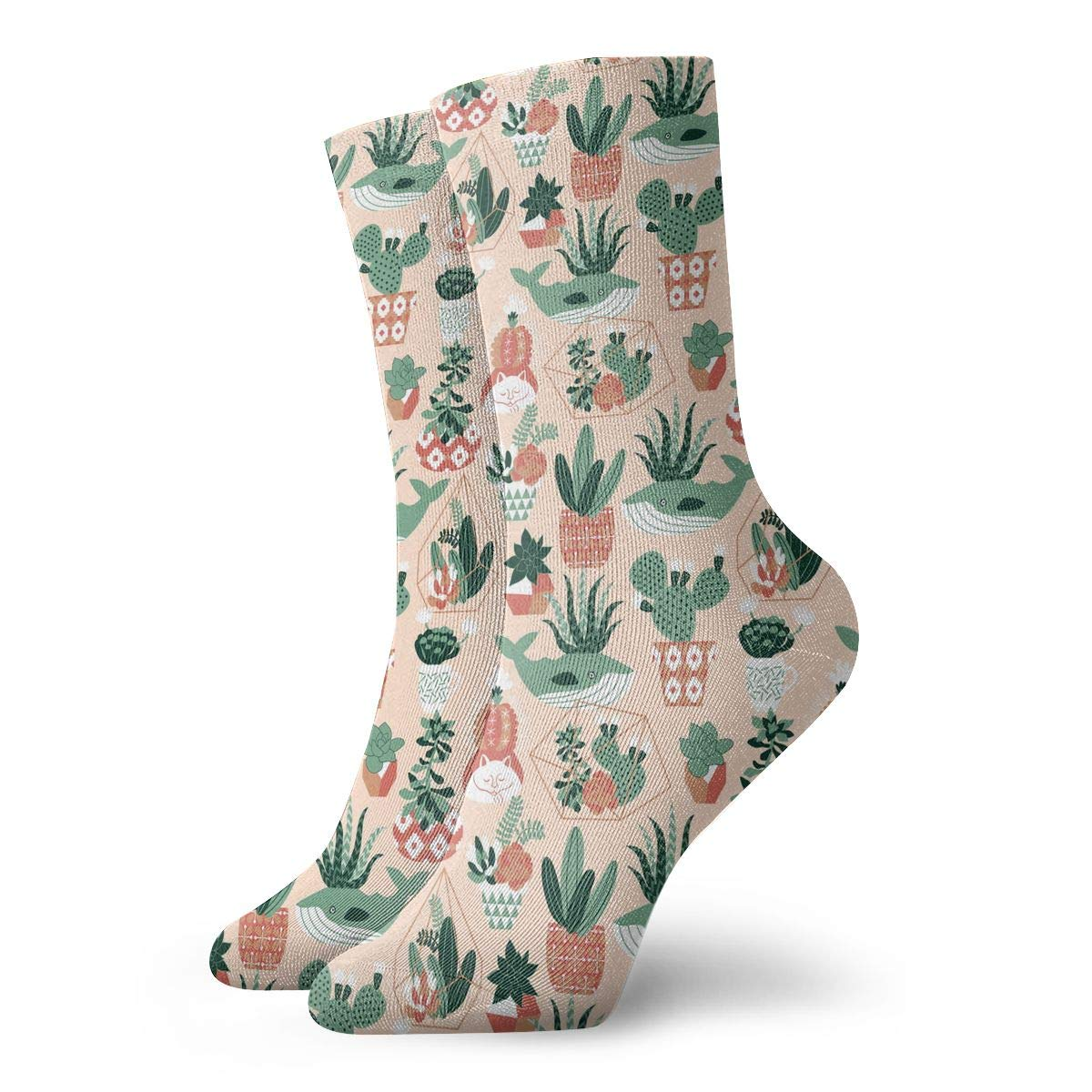 Women Men Succulents And Cactuses Pattern Athletic Ankle Socks