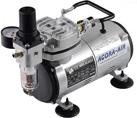 Agora Tec Airbrush Compressor At Ac 02 Kompressor Für Airbrushanwendungen Mit 4 Bar Und 20l Min Inkl Kondenswasserfilter Und Druckregler Baumarkt