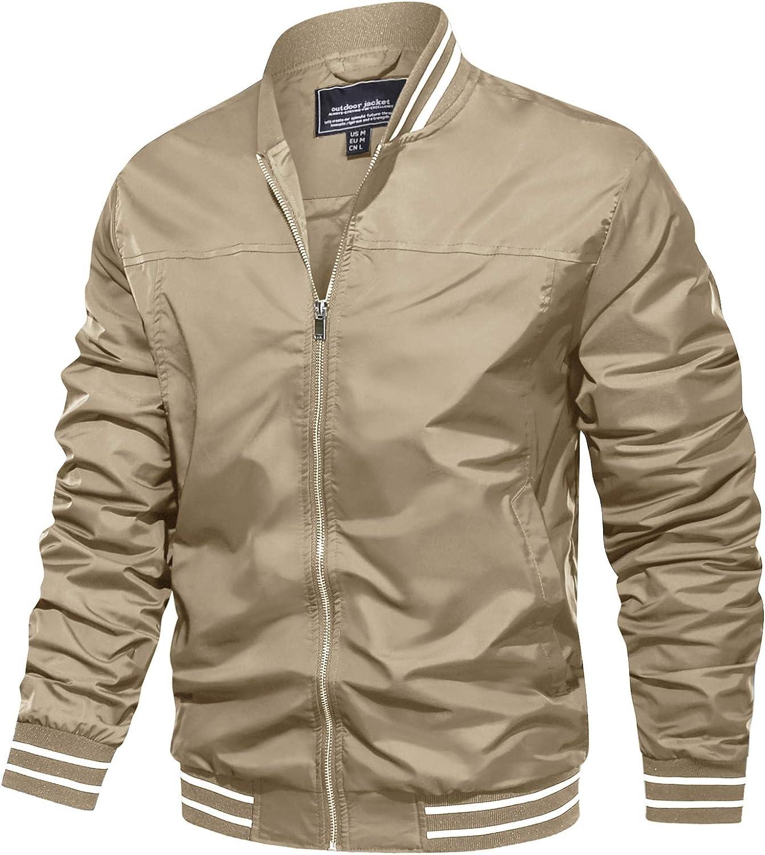 TACVASEN Mens Jacket-Lightweight Casual Spring Fall Thin Bomber Zip Pockets Coat Outwear