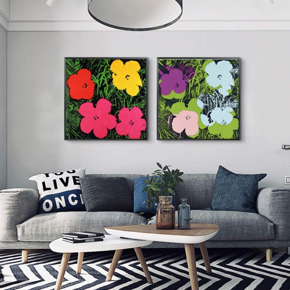 YHZSML Andy Warhol Colorido Acuarela Flores Arte de la Pared Pintura al óleo Lienzo Pintura Imágenes de la Pared para la Sala de Estar Imágenes Decoración para el hogar A + B 50x50cm