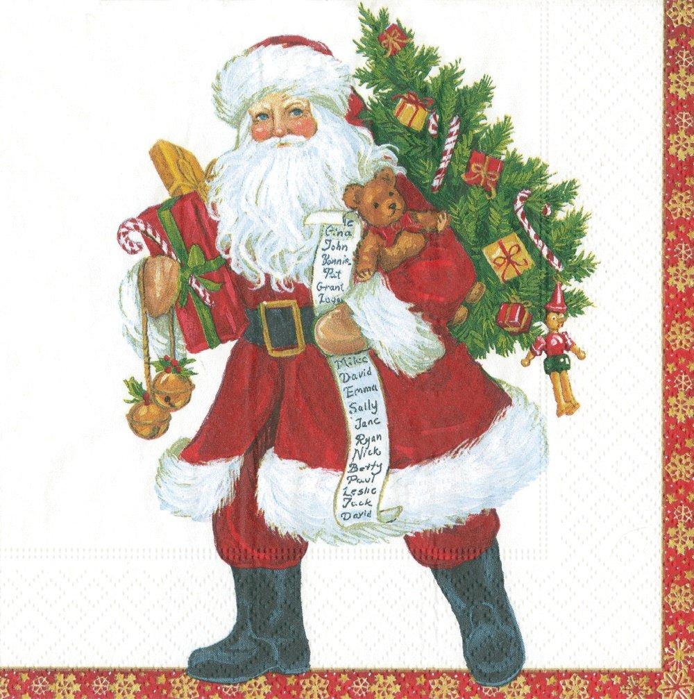 disfrutando de sus compras Entertaining with Caspari Lynn Haney de Papá Noel servilletas servilletas servilletas de cóctel  Venta al por mayor barato y de alta calidad.