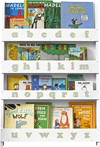Tidy Books Childrens Wooden ABC Bookcase Age 0-10 Kids Wall Bookshelf