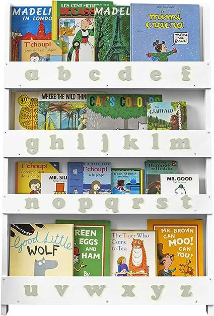 Tidy Books ® Estanteria Infantil, Librería Blanca de Pared para niños con abecedario 3D en Gris, Madera, 115 x 77 x 7 cm, Eco Friendly, Hecho a Mano, ...