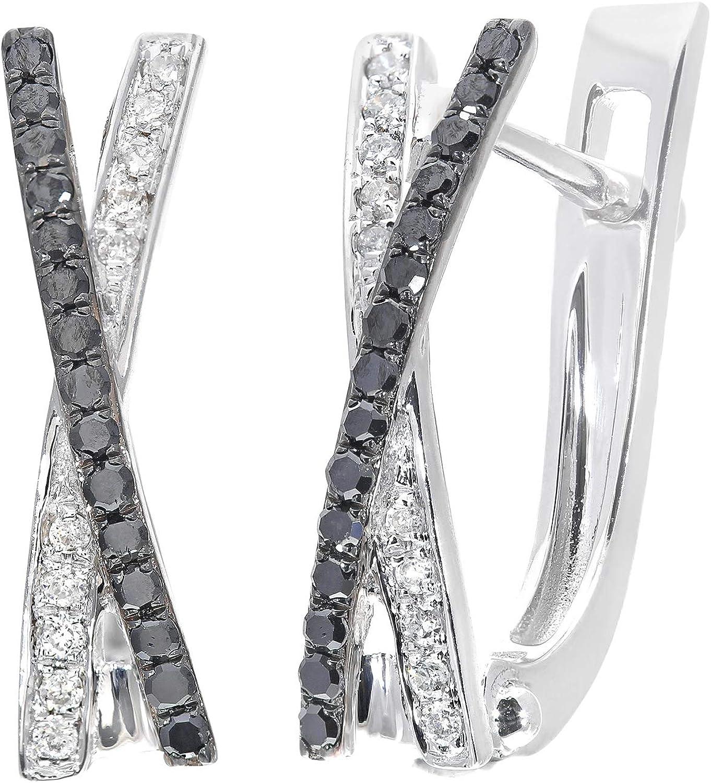 Naava Pendientes para Mujer de Oro Blanco 9K con Diamante Negro