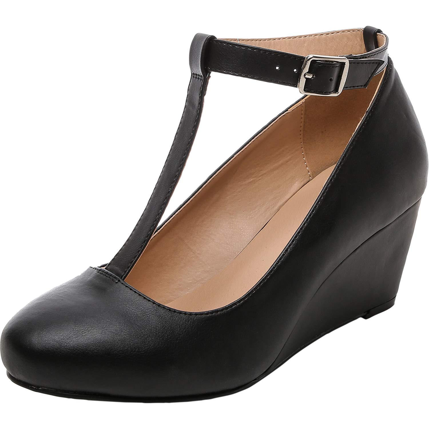 Retro Vintage Style Wide Shoes Luoika Womens Wide Width Wedge Shoes - Mary Jane Heel Pump with T-Strap. $44.99 AT vintagedancer.com