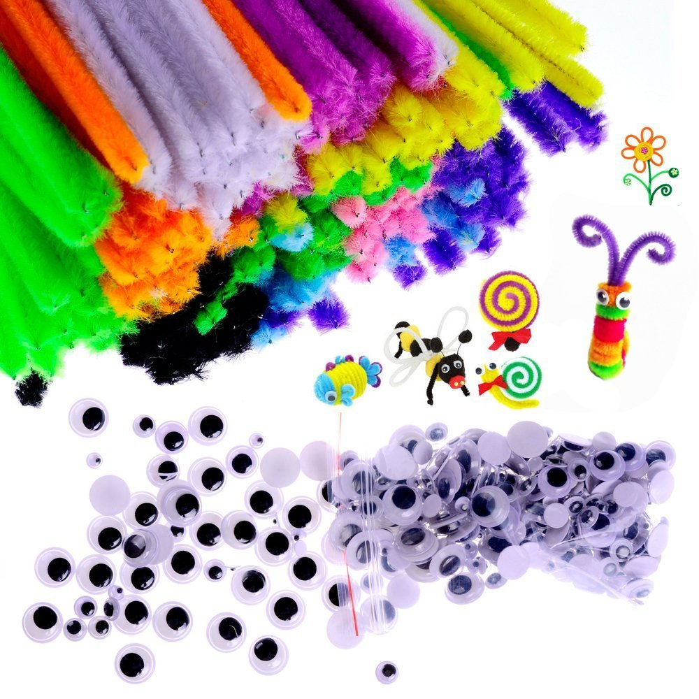 450 Pieces Chenille Stems for Craft DIY Art Supplies Self-sticking Wiggle Googly Eyes Pompoms