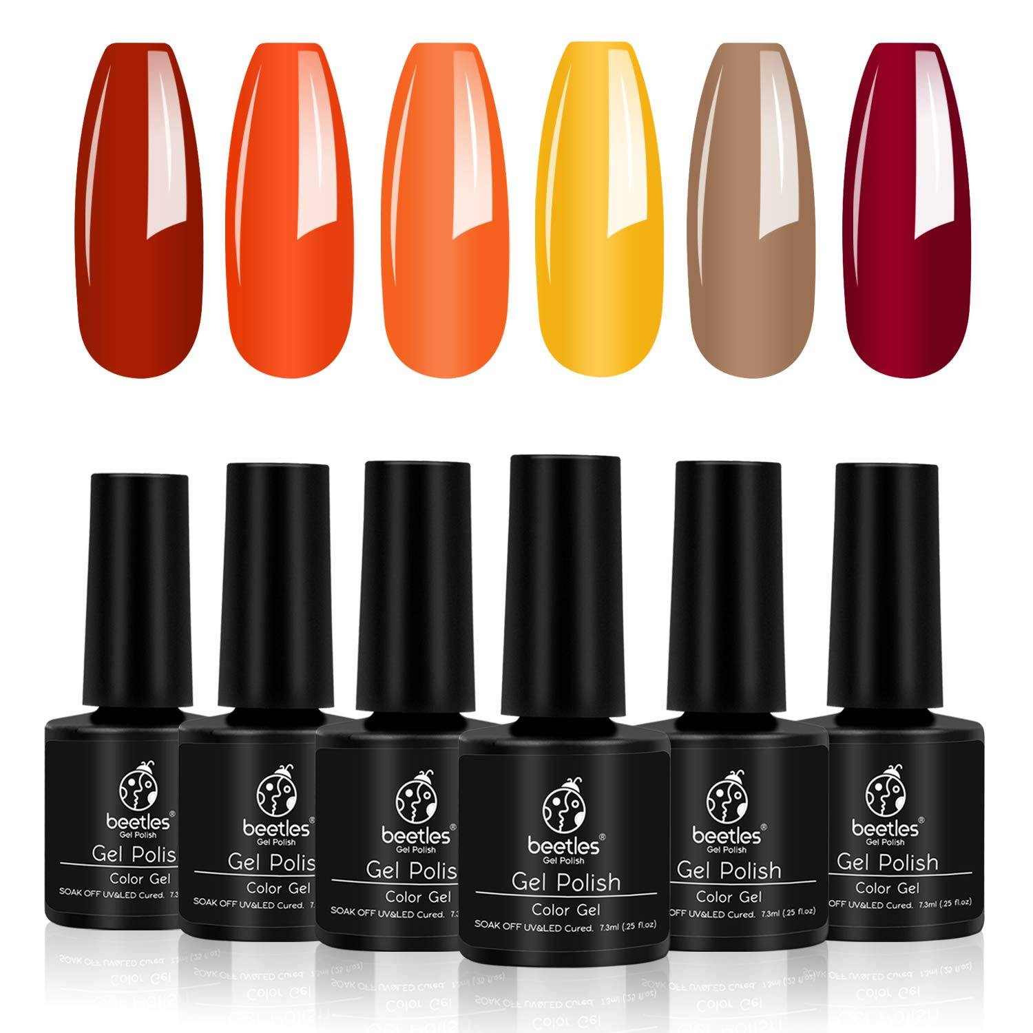 Beetles Gold Yellow Gel Polish Set- 6 Colors Red Gel Nail Polish Autumn Fall Nail Polish Soak Off Nail Polish Set UV Nail Lamp LED Cured, 7.3ml Each Bottle Gel Nail Kit for Summer Fall Nail Art Gift by beetles Gel Polish
