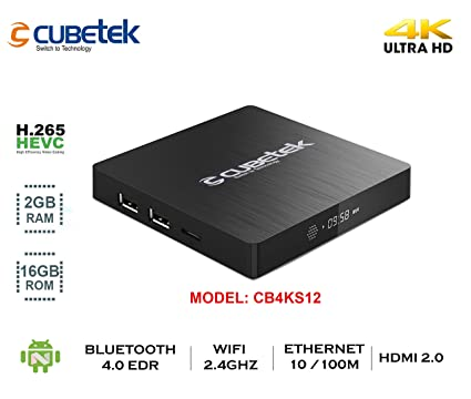 Cubetek 4K Portable Smart TV Box With 2Gb RAM, 16Gb ROM, HDMI 2 0, Android  6 0, Wifi, Dolby 5 1, Model: Cb4Ktx2