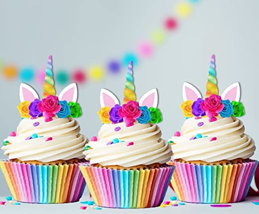 Amazon.com Unicorn Rainbow Horn Edible Cupcake Cake Toppers