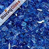Blazing Fireglass 10-Pound Reflective Fire Glass with Fireplace Glass and Fire Pit Glass, 1/4-Inch, Cobalt Blue