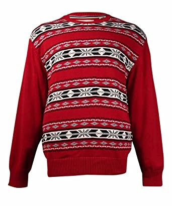 0f9b121c4 Weatherproof Mens Fair Isle Long Sleeves Pullover Sweater Red XL at ...