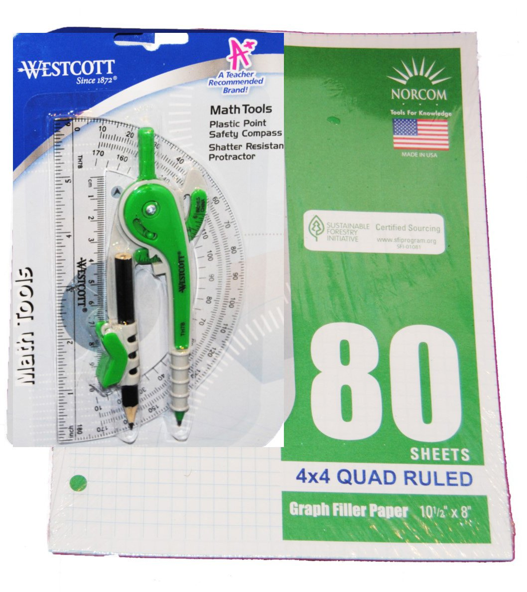 Geometry Set: 80 Sheets of 3 holed Graph Paper, Compass and Protractor (blue/green)