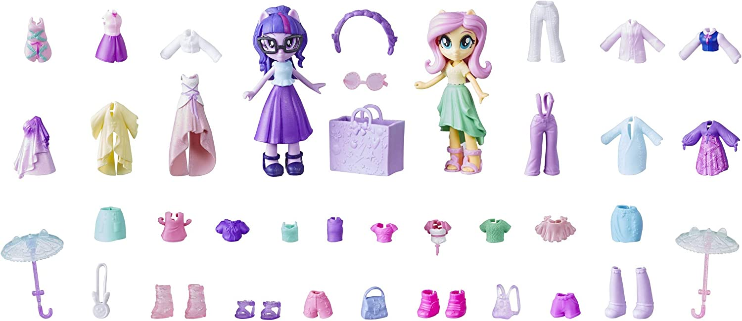 Amazon Com My Little Pony Equestria Girls Fashion Squad Fluttershy Twilight Sparkle Mini Doll Set With 40 Accessories 2 Dolls With Lots Of Fashions Accessories Toys Games