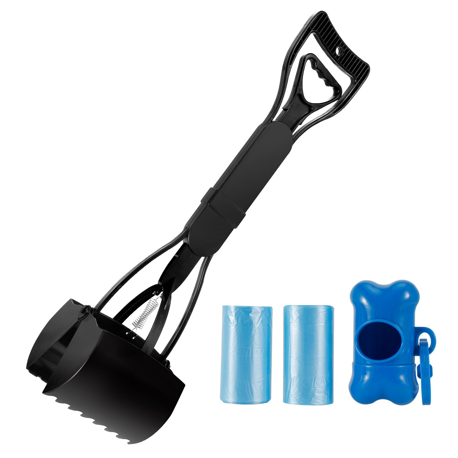 Pooper Scooper, Plastic Jaw Dog Waste Poop Scoop Set, Heavy Duty Large Pick Up Tools With Long Handle,2 Waste Bags and Holder Included,Perfect for All Size Pets(Black 24'')