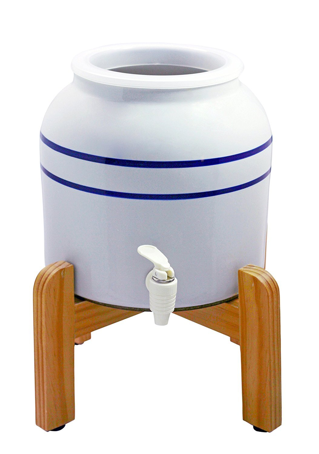 New Wave Enviro Porcelain Dispenser with Wood Counter Stand, Blue Striped (Pack of 2) by New Wave Enviro (Image #2)