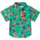 RAISEVERN Boys' Button Down Shirts Hawaiian Cartoon Print Slim-Fit Short Sleeve Cool Dress Shirt Cute Top for Kids(2-14T…