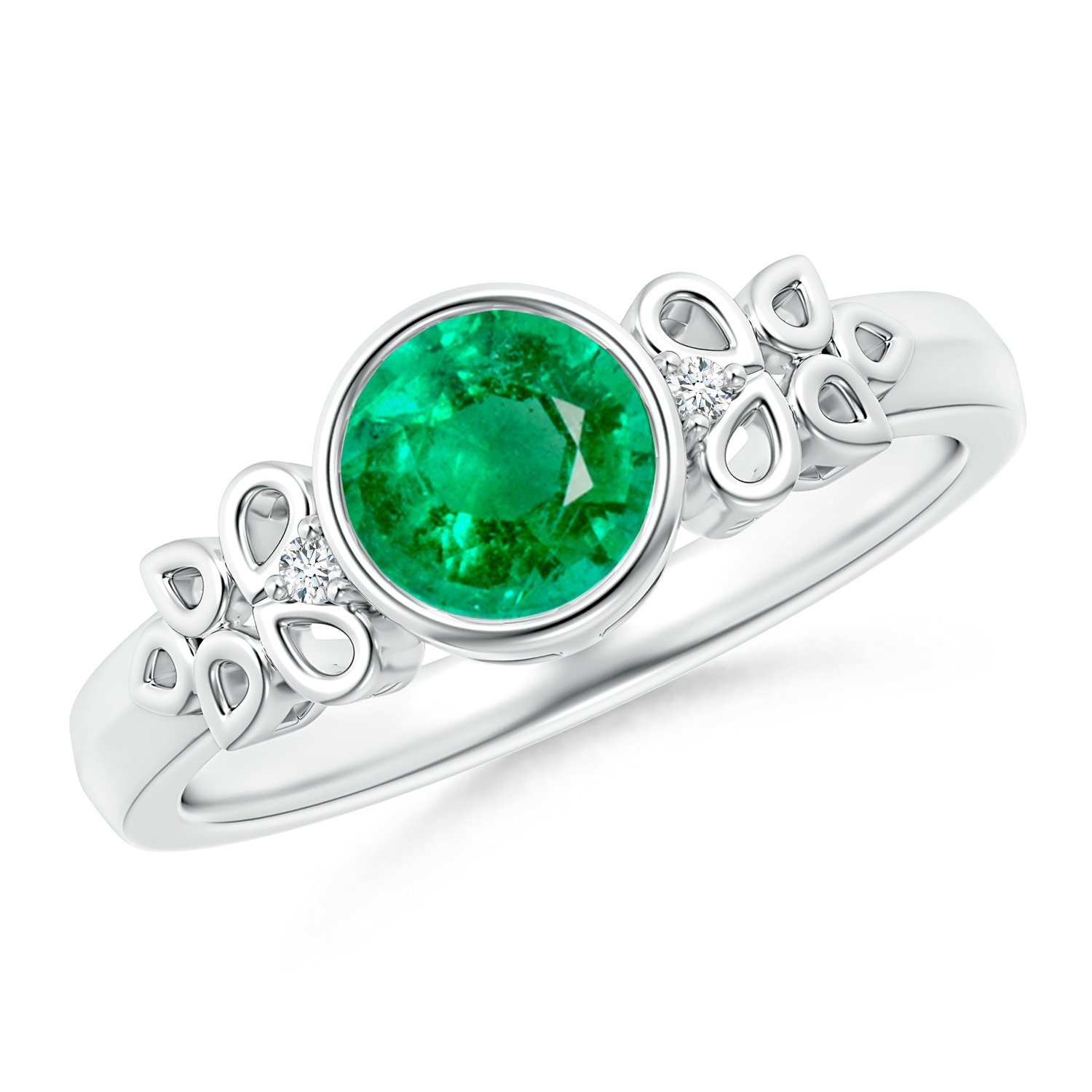 May Birthstone - Vintage Round Emerald Bezel Ring for Women with Diamond Accents in 14K White Gold (6mm Emerald)