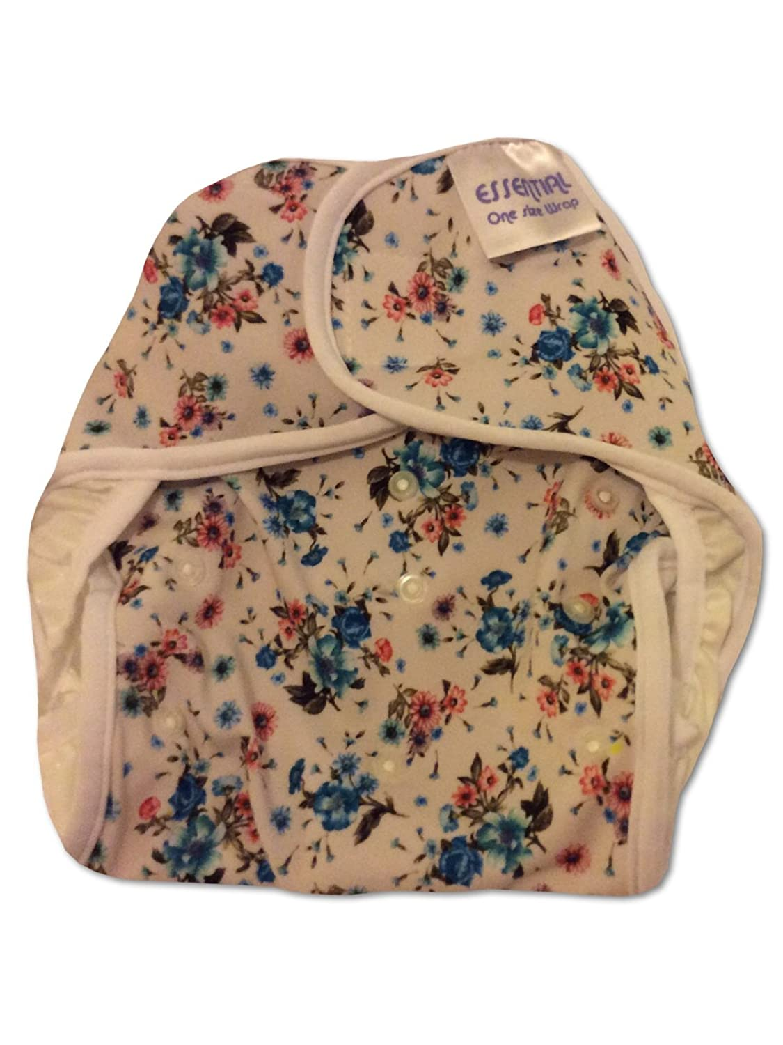 Essential Onesize Nappy Cover Velcro Blue Woodland Flowers Made in UK
