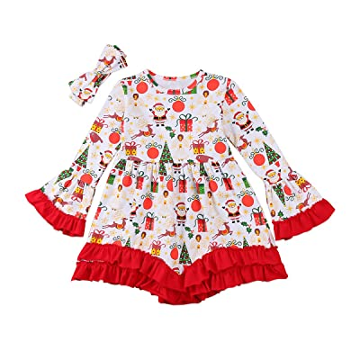 Christmas Apparel Baby Girls Long Sleeve Ruffle Sleeve Party Tutu Dress Headband Outfits (Red Santa Deer Print, 6-7 Years)