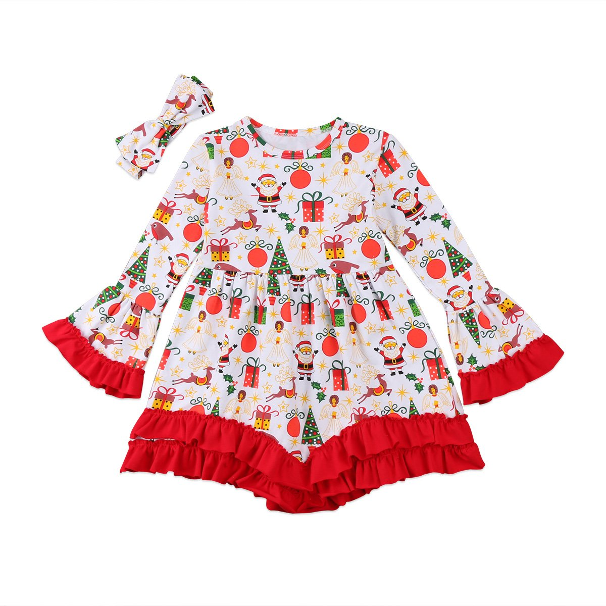 Red Santa Deer Print, 6-7 Years Christmas Apparel Baby Girls Long Sleeve Ruffle Sleeve Party Tutu Dress Headband Outfits