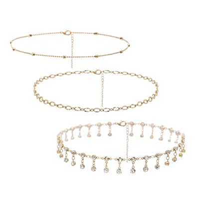 8144cd3913 So Pretty Dainty Crystal Gold Choker Necklaces-3 Pieces Set Layered Bead  Chain Choker Set