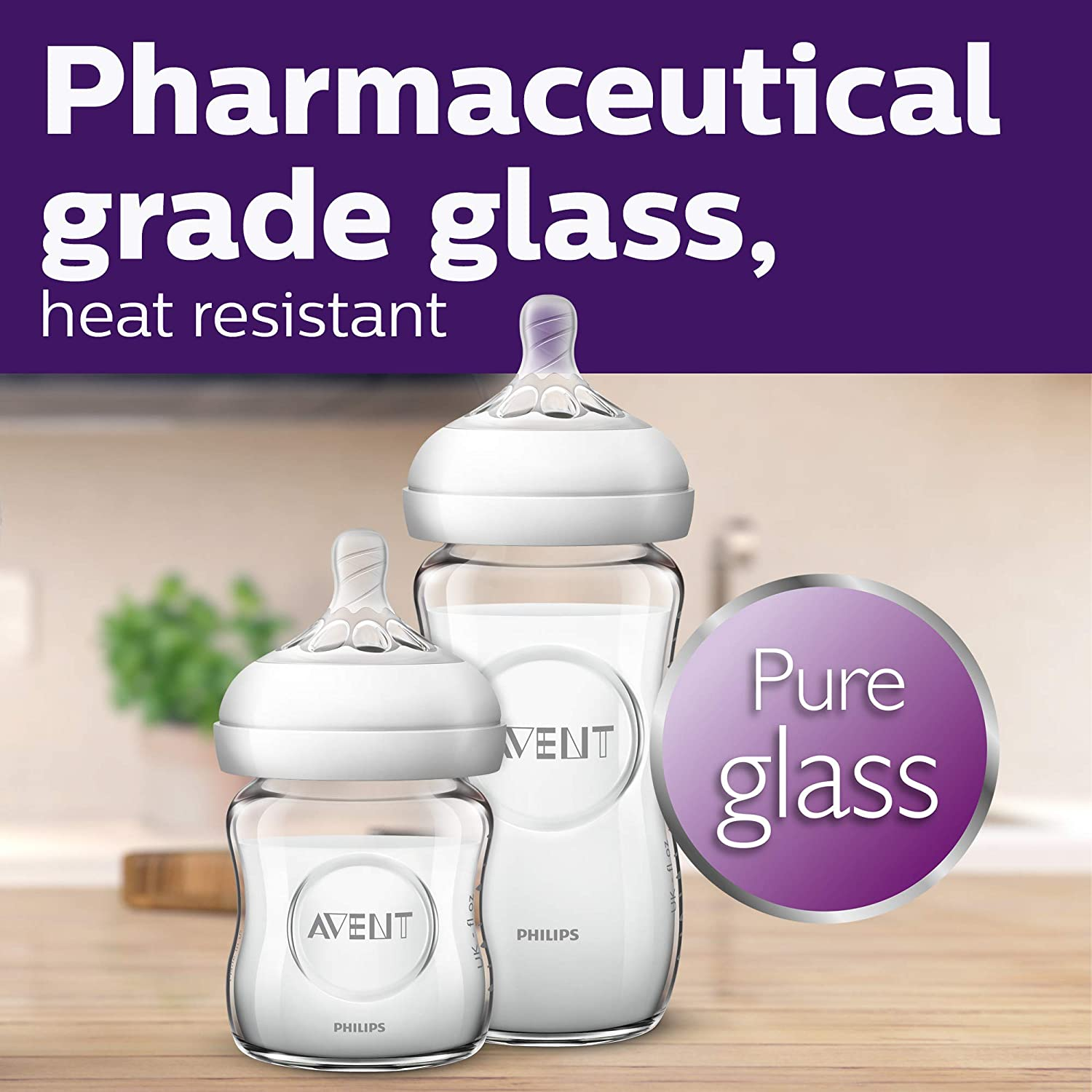 Philips Avent Natural Glass Baby Bottle, Clear, 9oz, 4pk, SCF703/47 : Baby