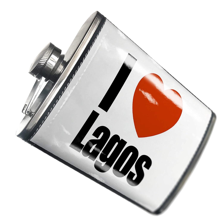 8オンスフラスコステッチI Love Lagos地域:のナイジェリアアフリカ、ステンレススチール – Neonblond   B00QQVGA9W