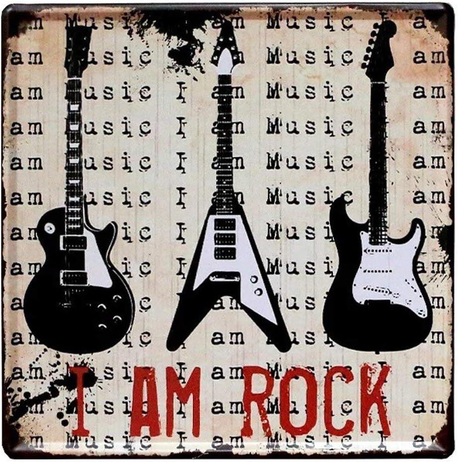 Hunnry I Am Rock Guitarra Hierro Pintura Retro Personalizado Metal Art Signo de Pared Creatividad Dormitorios Colgar Póster Obra de Arte Bar Café Inicio: Amazon.es: Hogar
