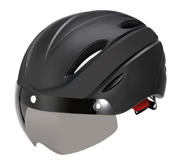 EyeGlow Stylish Adult Road Bike Helmet with Visor Protector Adjustable Sport Aero Cycling Helmet Bicycle Helmets for Men & Women,Safety Protection with Goggle Lens Safety Protection With Goggle Lens (Black) EGH002BLACK