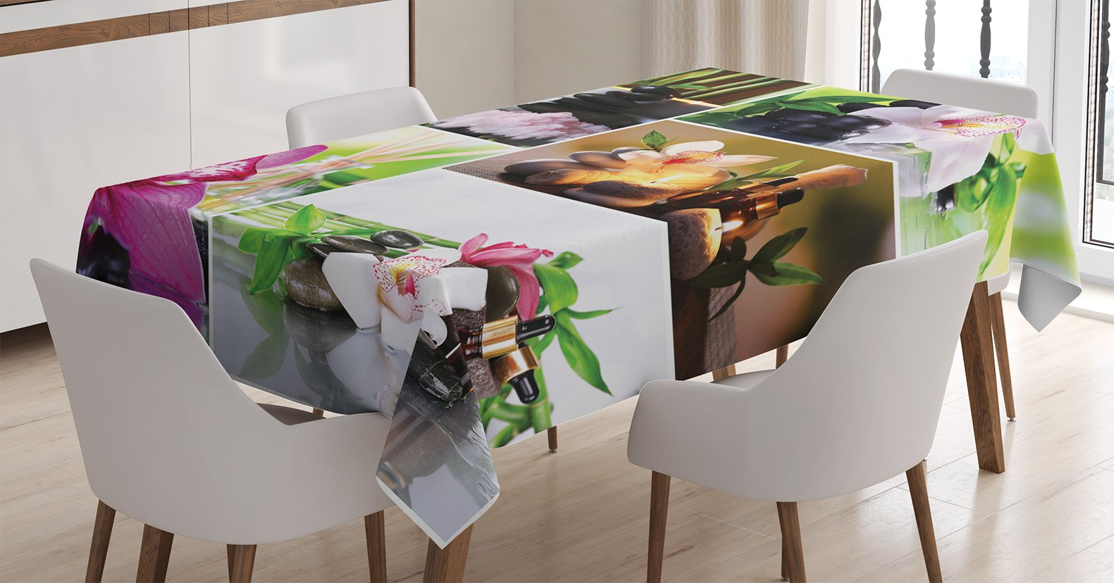 Ambesonne Home Decor Tablecloth, Spa Day Collage with Orchids and Stone Pebbles Natural Herbal Oils Body and Mind Treatment Decor, Dining Room Kitchen Rectangular Table Cover, 60 X 90 inches
