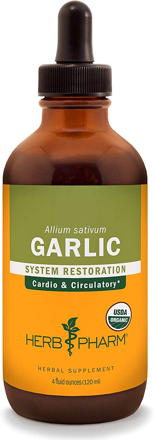 Herb Pharm Certified Organic Garlic Liquid Extract for Cardiovascular and Circulatory Support – 4 Ounce