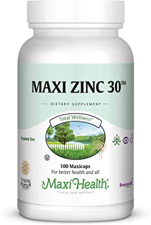 Maxi-Health Zinc Vitamin – 30mg High Potency Pure Zinc – Natural Dietary Supplement for Kids and Adults - 100 Vegetarian Capsules