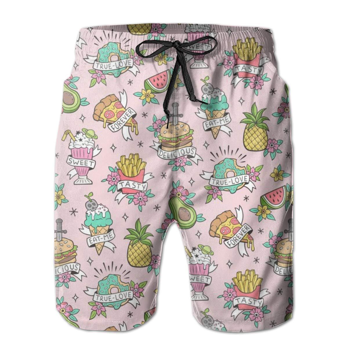 Comida Tatuajes en Rosa Claro_670 Pantalones Cortos de Playa de ...