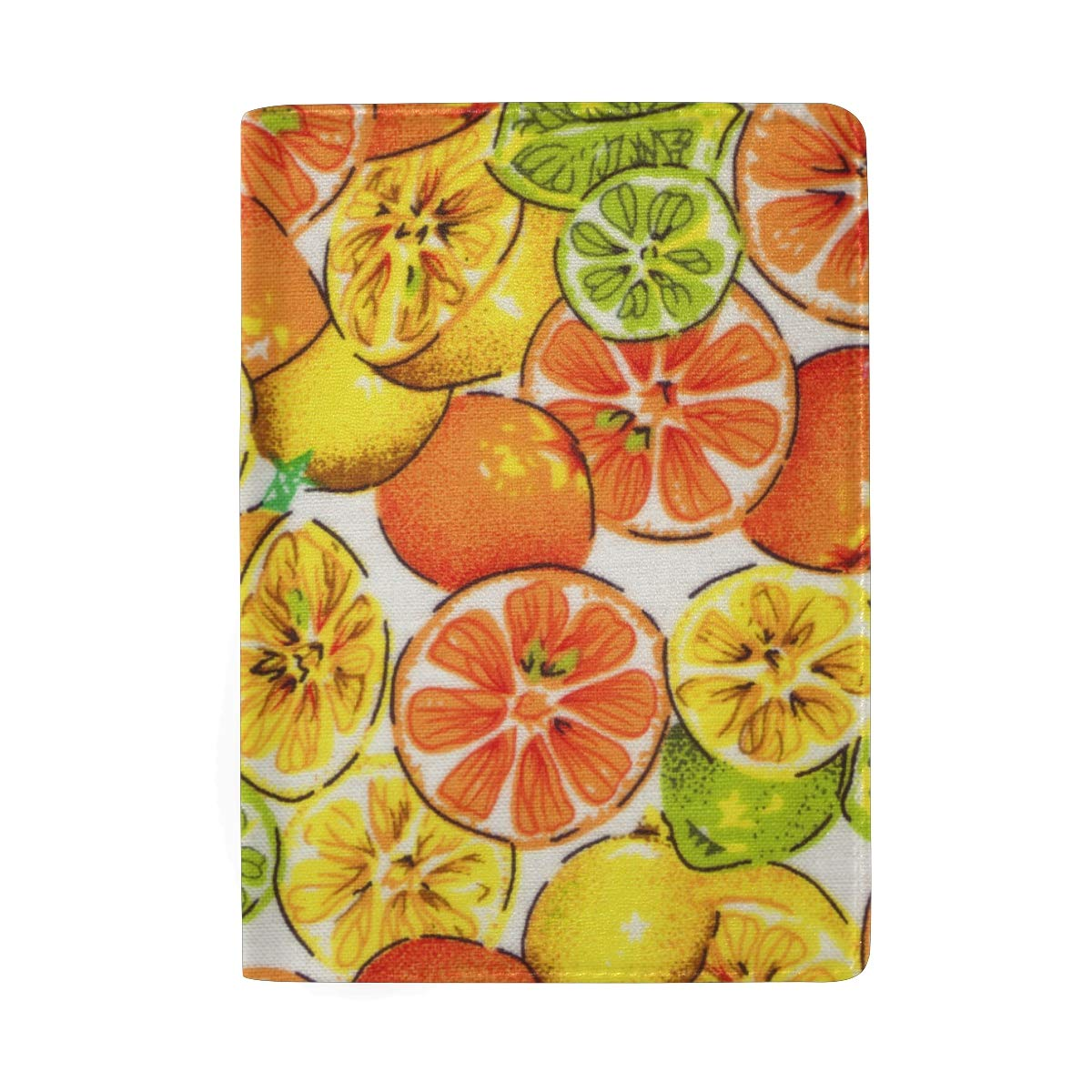 Fruits Pattern Red Yellow Green Leather Passport Holder Cover Case Protector for Men Women Travel with Slots
