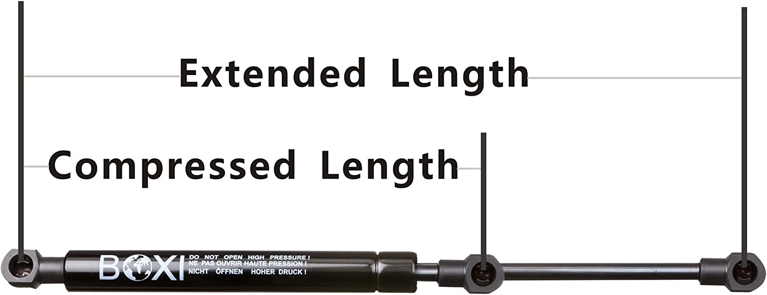 BOXI 6928 Universal Lift Supports Struts Extended Length: 15.00 Inches Force:130 Lbs Qty 10mm Ball Socket Shocks 6928 Compressed Length: 9.38 Inches 2