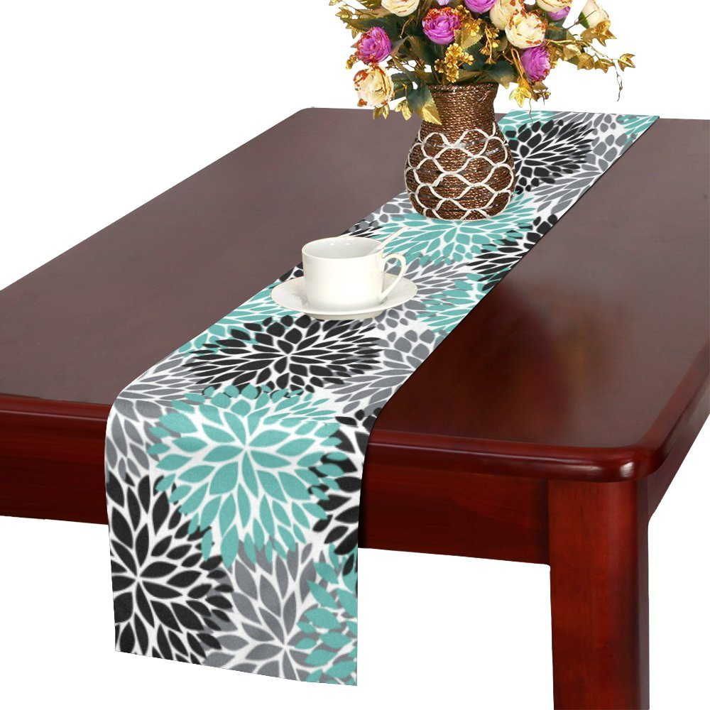 InterestPrint Dahlia Pinnata Flower Teal Black Gray Table Runner Linen & Cotton Cloth Placemat Home Decor for Wedding Banquet Decoration 16 x 72 Inches
