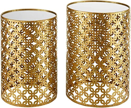 Linon Geometric Metal Nesting Table Set in Gold