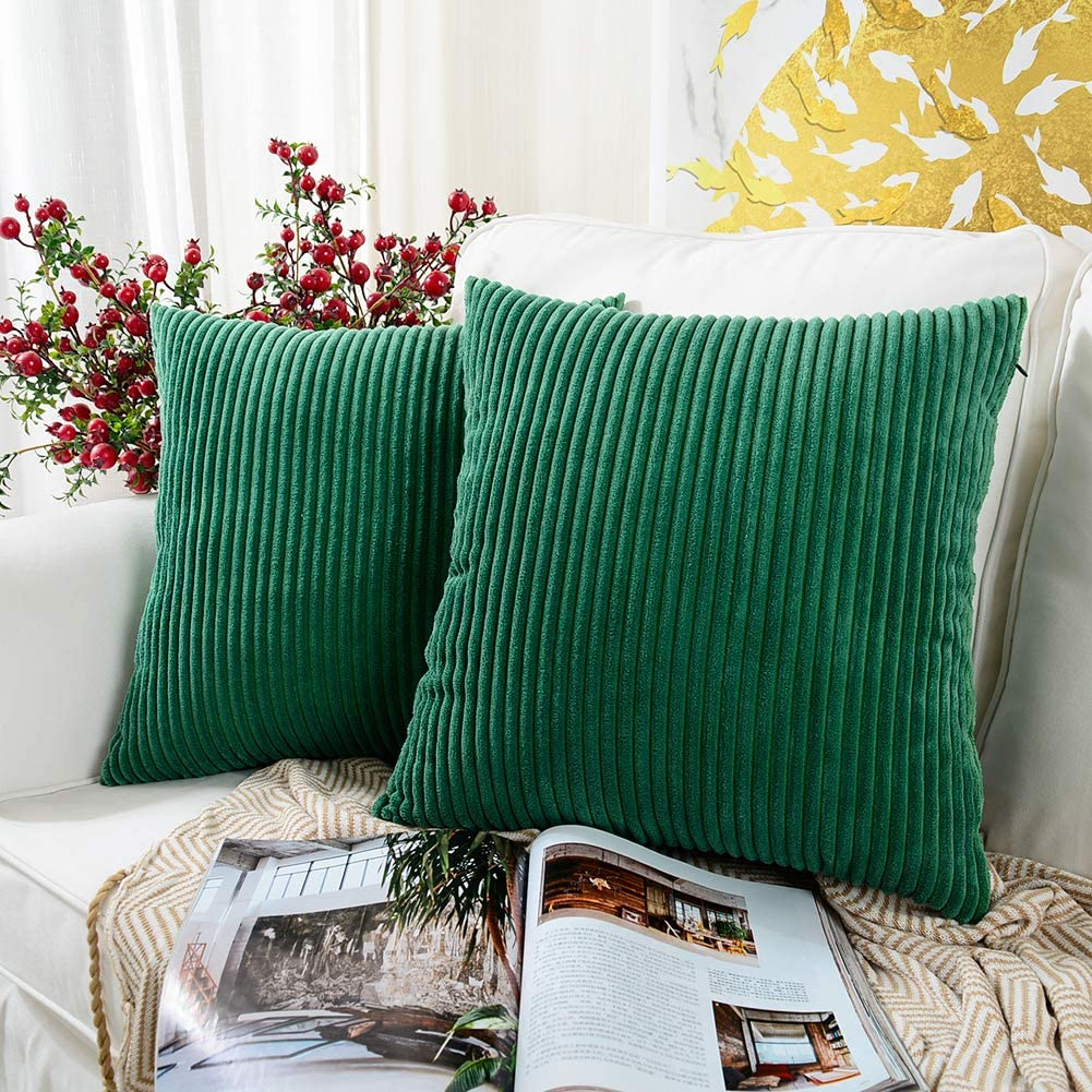 MERNETTE Pack of 2, Corduroy Soft Decorative Square Throw Pillow Cover Cushion Covers Pillowcase, Home Decor Decorations for Sofa Couch Bed Chair 16x16 Inch/40x40 cm (Chrismas Green)