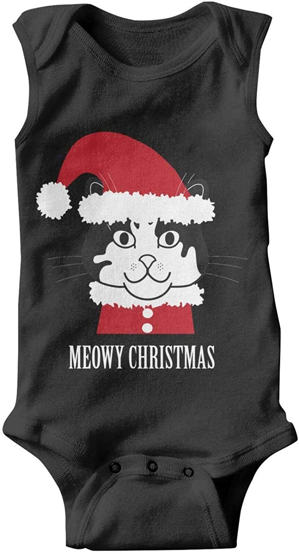 Meowy Christmas Cat Baby Onesies Sleepwear Set Gift Baby Onesie Sleeveless Sports Newborn Infant