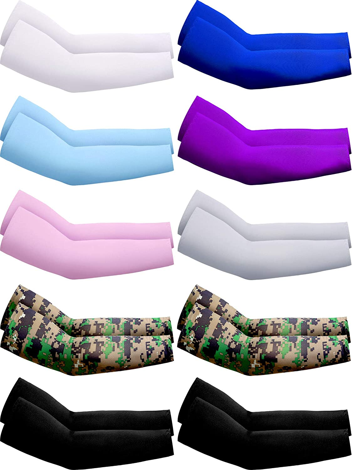 10 Pairs UV Protection Sleeves Sun Protection Cooling Arm Sleeves Anti-Slip Ice Silk Arm Covers for Men and Women (White, Grey, Black, Blue, Purple, Pink, Camouflage)