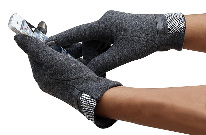 Olyer Mens Mirco Velvet Gloves Warmer Gloves With Touch Screen Finger Tip
