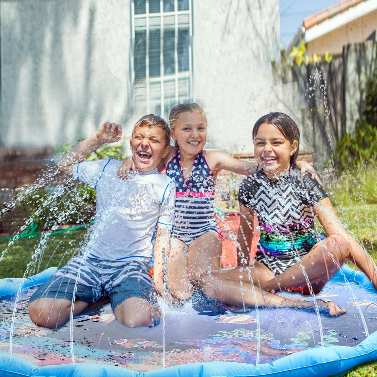 joylink Sprinkle and Splash Play Mat 67.72 Inches Splash pad Water Play Mat Summer Essential Spray Toys for Kids Summer Outdoor Garden Water Play Blue