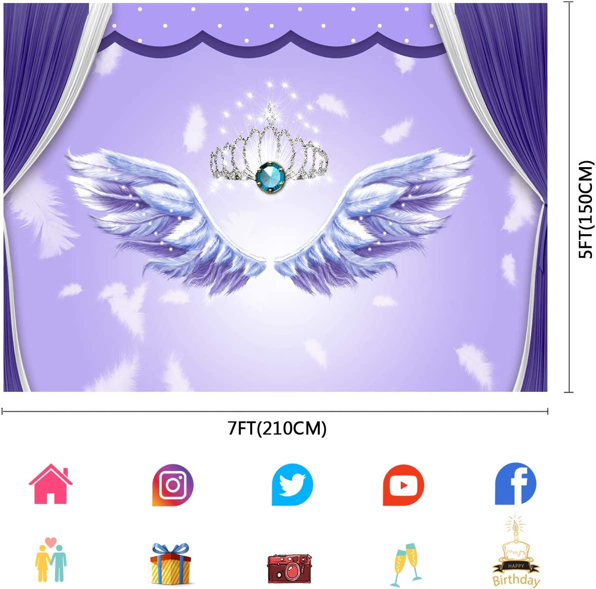 FUERMOR Angel Wings Backdrop for Royal Princess Girls Baby Photo Props Photography 7x5ft Angel Themes Party Decoration Backgrounds LLFU022