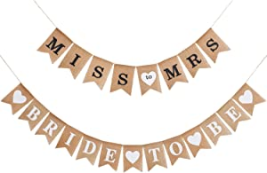 2 Pieces Burlap Banner Bride to Be Banner Bridal Shower Banner Rustic Bunting Garland for Party Decorations Supplies