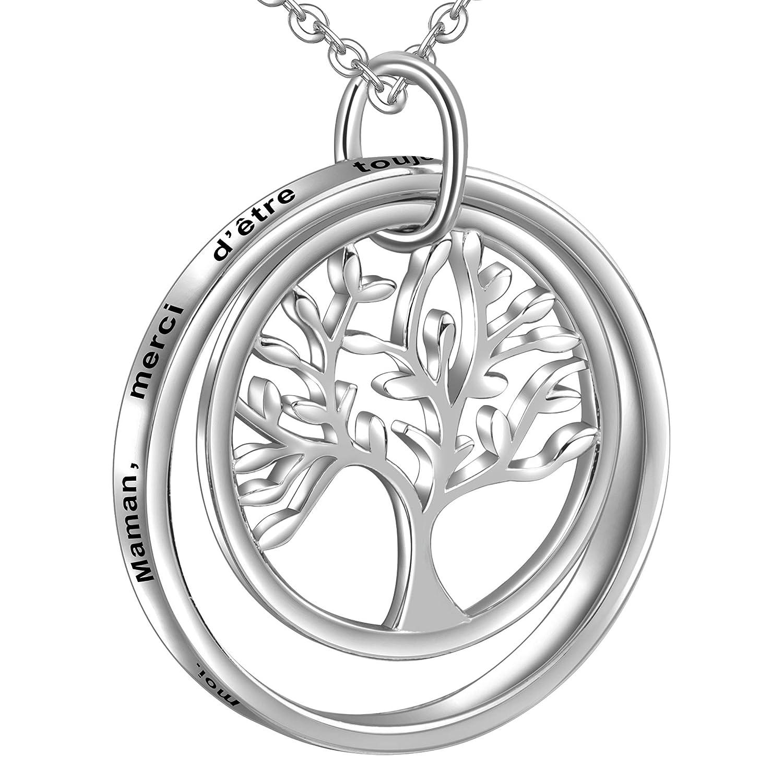 LOVORDS Collier Mère Femme Gravé en Argent 925/1000 Pendentif Anneau Cercle et Arbre de Vie Cadeau pour Maman FR-LSN011
