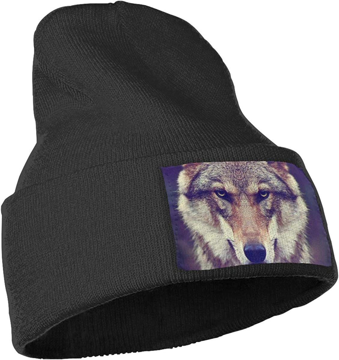 Timber Wolf Hat for Men and Women Winter Warm Hats Knit Slouchy Thick Skull Cap Black