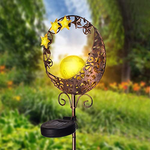 Kyson Solar Moon Stake Lights,Moon Crackle Glass Globe Sun Powered Outdoor Decorative Landscape Lights for Lawn Pathway Yard Patio Garden,Waterproof Warm White 1 Pack