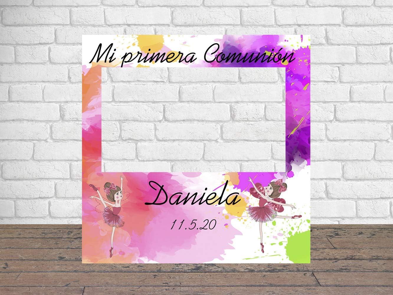 Photocall Mi Primera Comunión Bailarinas 100 x100 cm | Regalos para Bautizos | Photocall Económico y Original | Ideas para Regalos | Regalos Personalizados de Comunión