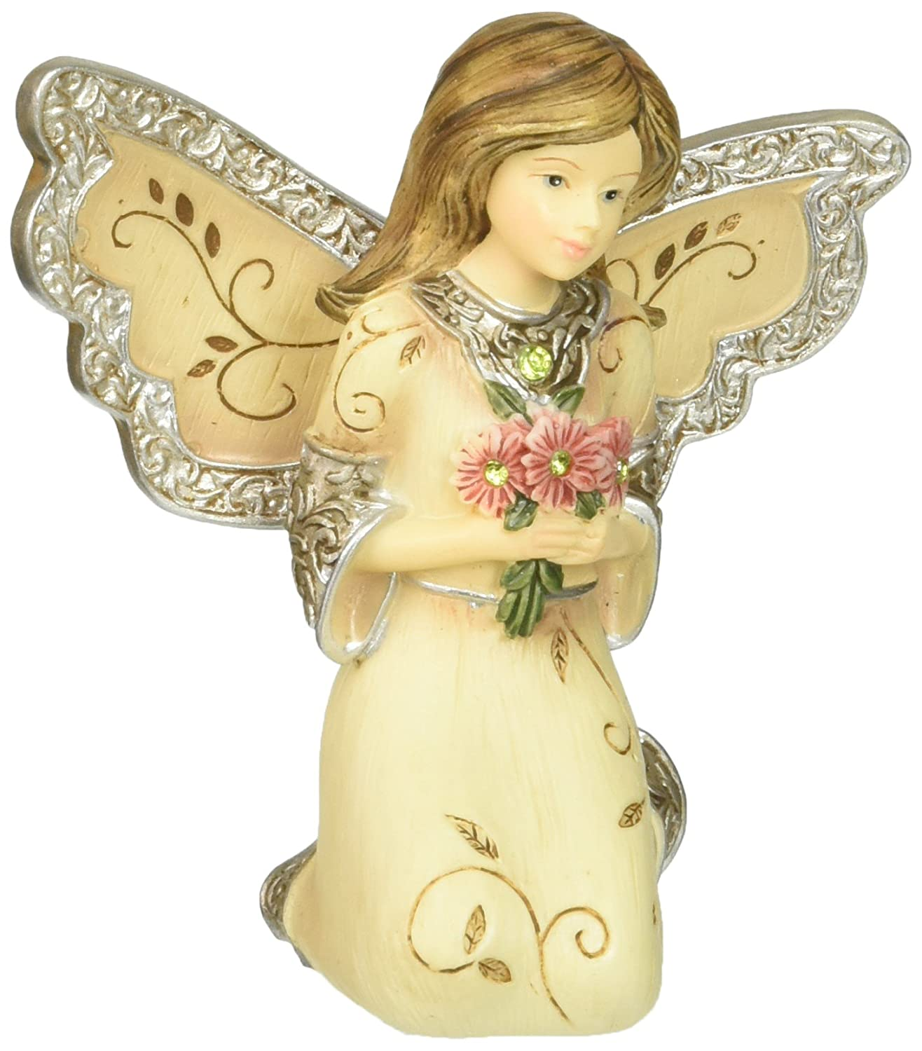 Elements August Monthly Angel Figurine, Includes Peridot Birthstone, 3-Inch